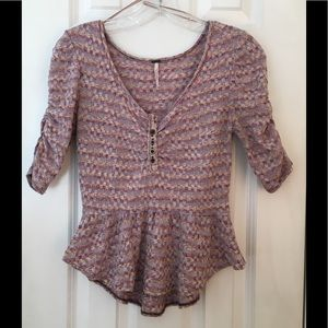 Free People Knit Peplum Top XS